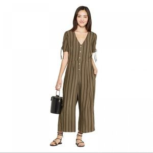 Xhilaration Olive Tree Striped Jumpsuit Romper S